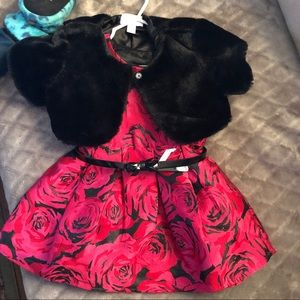 Other - Toddler dress with fur shrug